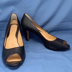 Black Cole Haan Leather Peep-Toe 3.5 Inch Heels